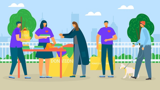 Helfen sie obdachlosen nächstenliebe spenden vektor-illustration mann frau charakter sorge um arme person v...