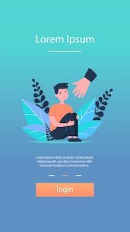 Helfende hand für weinenden jungen