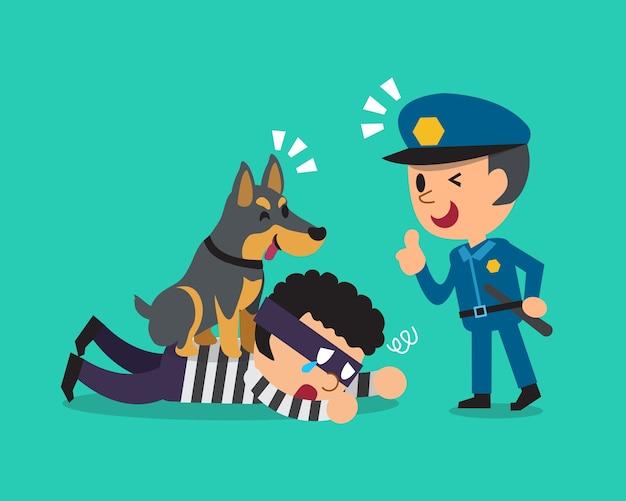 Helfender polizist des karikaturdobermann-hundes, dieb zu fangen