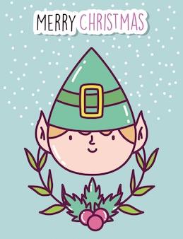 Helfergesichtsniederlassungs-stechpalmenbeere der feier der frohen weihnachten nette