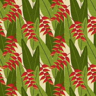 Heliconia-blume auf nahtlosem muster der grünen tropischen blätter.