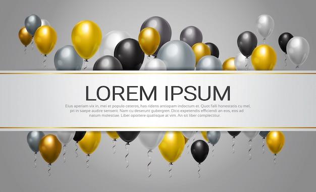 Helium steigt dekoration für partei-, feier-oder festival-ereignis-schablonen-hintergrund im ballon auf