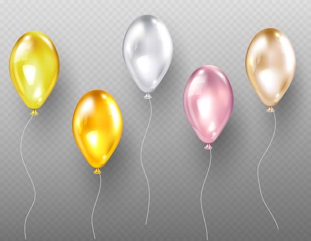 Heliumballons, die mehrfarbige glänzende objekte aus gold fliegen