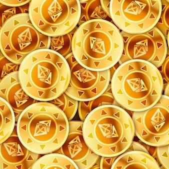 Hell glänzende goldene münzen mit ethereum-zeichen, nahtloses muster