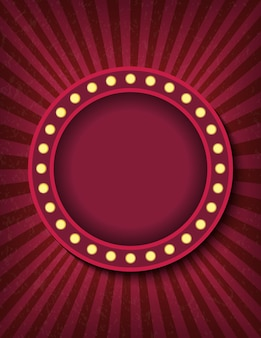 Hell leuchtende kreis-retro-kino-leuchtreklame. zirkus-stil zeigen vertikale bannervorlage. hintergrundvektorplakatbild