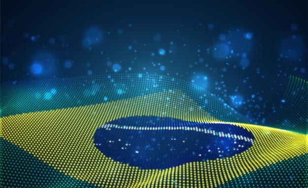 Hell leuchtende landesflagge aus abstrakten punkten. brasilien