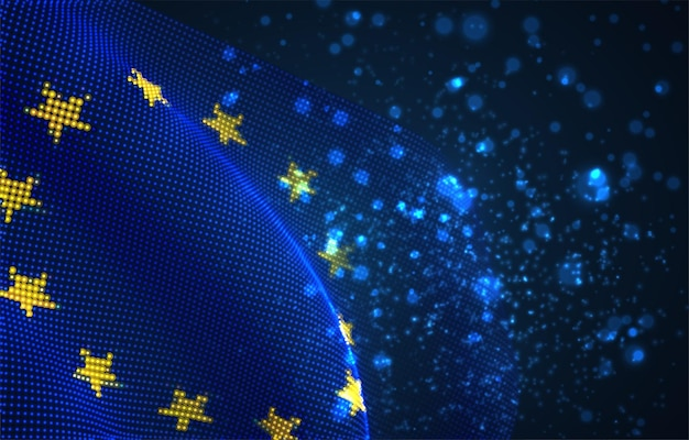 Hell leuchtende landesflagge aus abstrakten punkten. europäische union