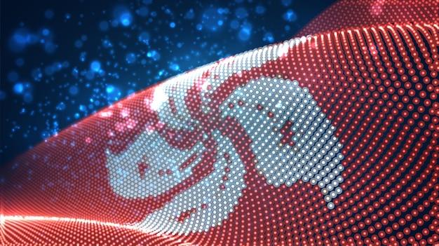 Hell leuchtende landesflagge aus abstrakten punkten. hongkong