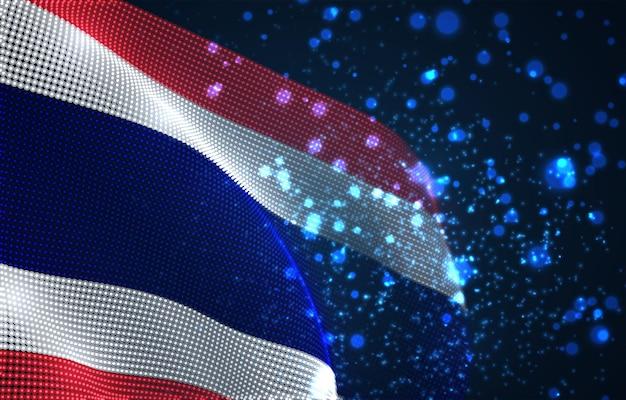 Hell leuchtende landesflagge aus abstrakten punkten. thailand