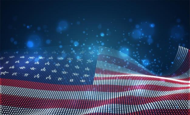 Hell leuchtende landesflagge aus abstrakten punkten. usa