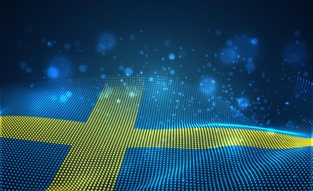 Hell leuchtende landesflagge von abstrakten punkten.schweden