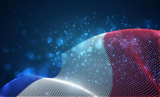 Hell leuchtende landflagge der abstrakten punkte. frankreich