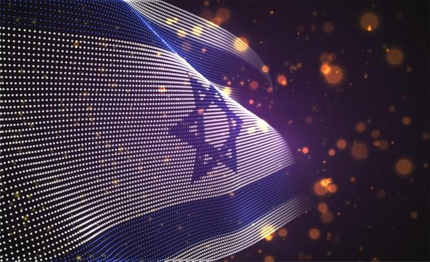Hell leuchtende landflagge der abstrakten punkte. israel