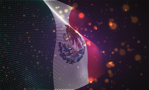 Hell leuchtende landflagge der abstrakten punkte. mexiko