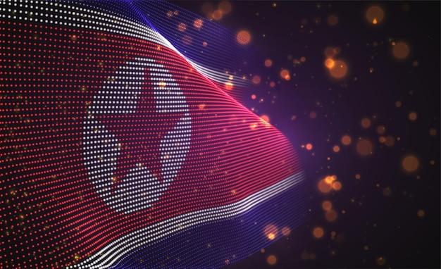 Hell leuchtende landflagge der abstrakten punkte. nord korea