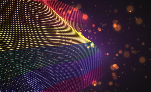 Hell leuchtende landflagge der abstrakten punkte. regenbogen lgbt