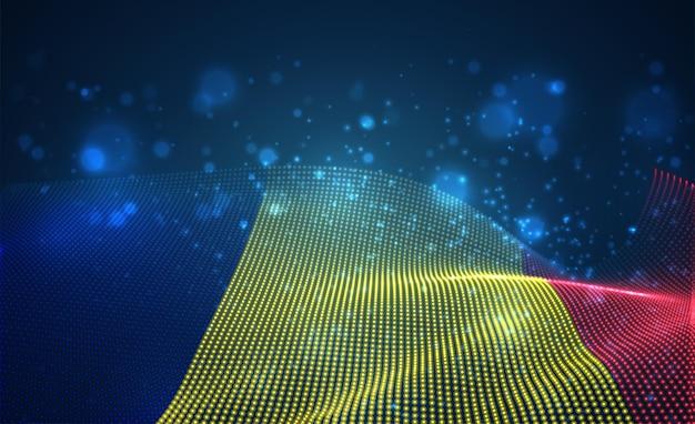 Hell leuchtende landflagge der abstrakten punkte. rumänien