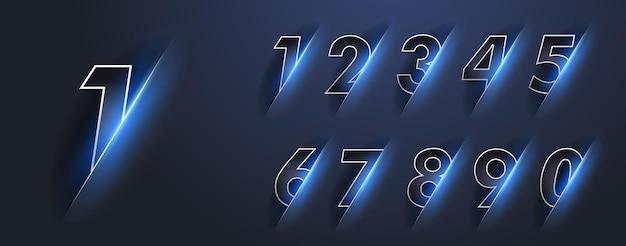 Hell leuchtende zahlen von null bis neun mit blauem schein. zahlen 1,2,3,4,5,6,7,8,9,0 mit hellem licht. 2022 frohes neues jahr.