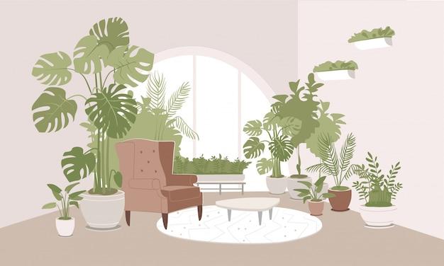 Hellbeiges zimmer mit topfpflanzen auf dem boden und an den wänden.