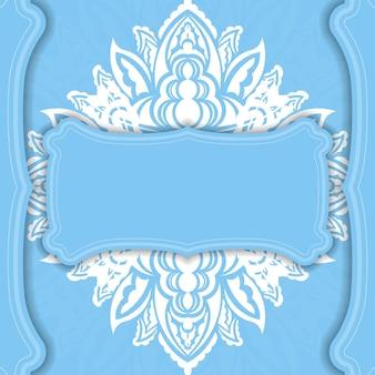Hellblaue bannervorlage mit abstraktem weißem muster und platz für ihr logo