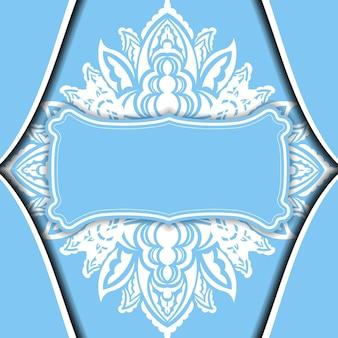 Hellblaue bannervorlage mit weißem vintage-muster und platz für ihr logo