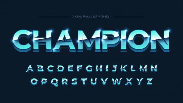 Hellblaue chrom-metallic-großbuchstaben-typografie