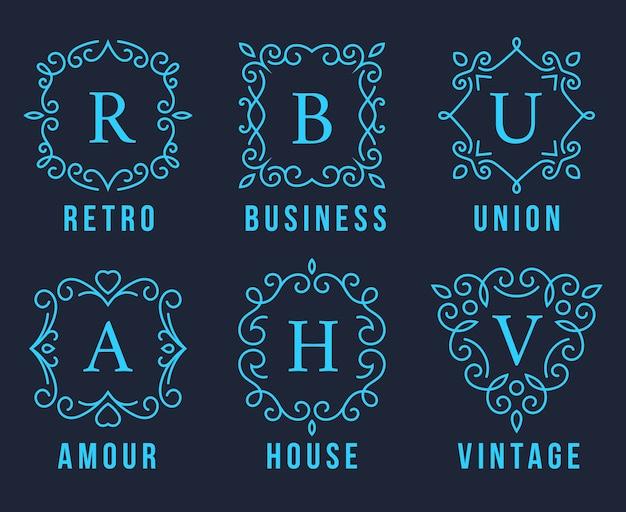 Hellblaue monogramm-logos stellen illustration auf dunkelgrauem hintergrund ein.