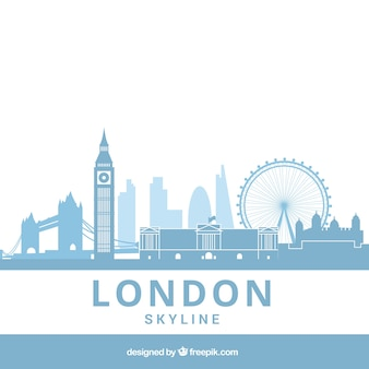 Hellblaue skyline von london