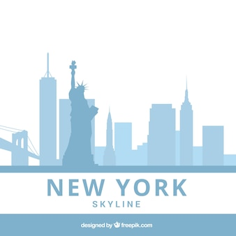 Hellblaue skyline von new york