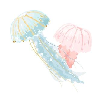 Hellblaue und rosa quallen oder medusen sind frei schwimmende meerestiere