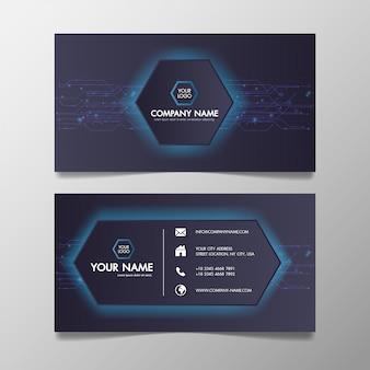 Hellblaue und schwarze schablone des modernen technologienetzwerks der visitenkarte kreativ und sauber