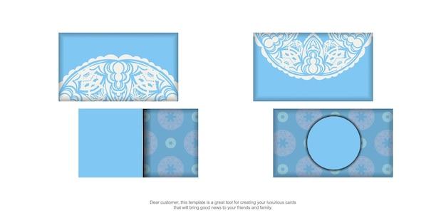 Hellblaue visitenkarte mit abstraktem weißem muster für ihre persönlichkeit.