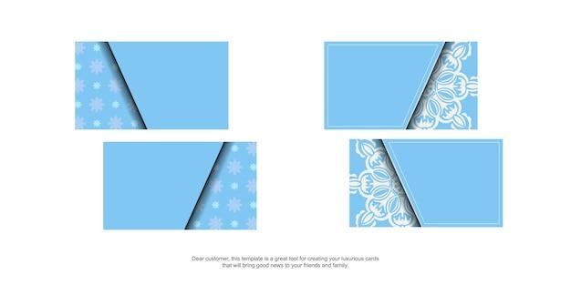 Hellblaue visitenkarte mit indisch-weißem muster für ihre persönlichkeit.