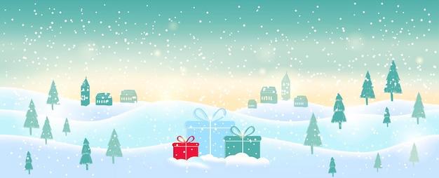 Hellblauer abstrakter weihnachtshintergrund mit weißen funkelnden schneeflocken. winterurlaub illustration der landschaft mit geschenken, platz für text. vorlage für dekoration, grußkarten, einladungen.