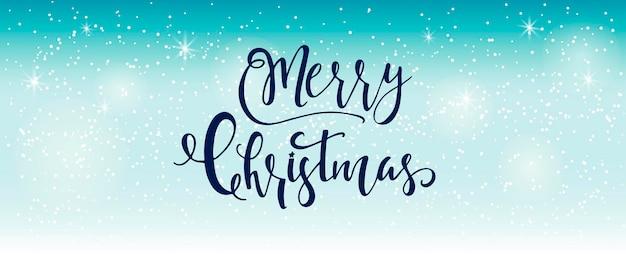 Hellblauer abstrakter weihnachtshintergrund mit weißen funkelnden schneeflocken. winterurlaub illustration, landschaft mit geschenken, platz für text. vorlage für dekoration, grußkarten, einladungen.