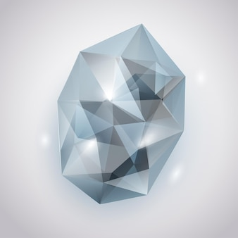 Hellblauer kristall mit blendungen und schatten
