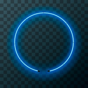 Hellblauer runder neonrahmen auf transparentem hintergrund