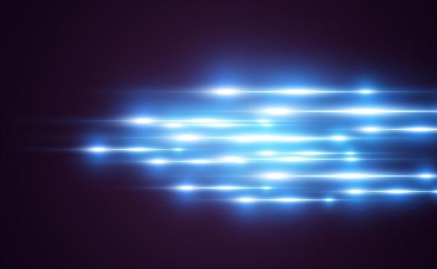 Hellblauer spezialeffekt. glühende helle streifen auf einem transparenten hintergrund.