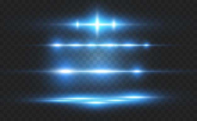 Hellblauer spezialeffekt leuchtende helle streifen Premium Vektoren