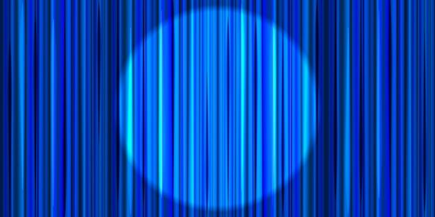 Hellblauer vorhang mit runder scheinwerferbeleuchtung, retro-theaterbühnenhintergrund
