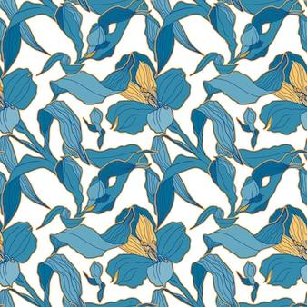 Hellblaues nahtloses muster mit hoch detalisierten alstroemeria-knospen und blüten