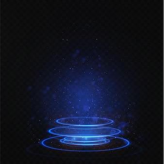 Hellblaues podium ist leer mit den effekten des neonlinien-highlights.
