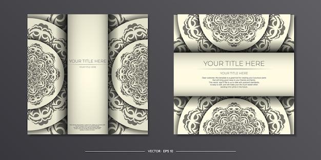 Hellcreme-vintage-karte mit abstrakter verzierung. einladungskartendesign mit mandalamustern.
