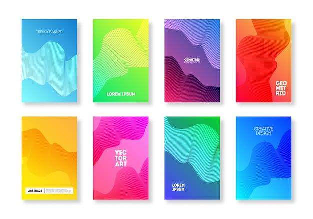 Helle abdeckung des abstrakten wellenliniensatzes. trendige minimale geometrische