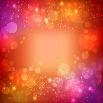 Helle abstrakte schablone mit licht glühenden glitzereffekten auf unscharfen hintergrundvektorillustration