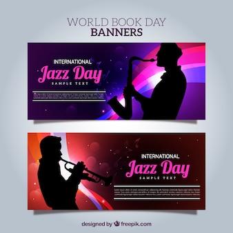 Helle banner mit saxophonist silhouetten