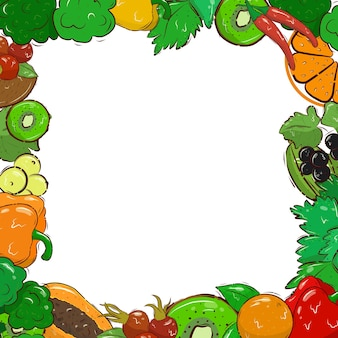 Helle bannervorlage mit gemüse, obst und beeren. vitamin c. bio. postkarte. der rahmen. platz für den text. abbildung auf lager. vektor
