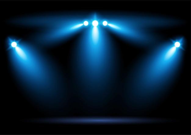 Helle blaue stadionarena, die scheinwerfer beleuchtet grafische elementvektorillustration