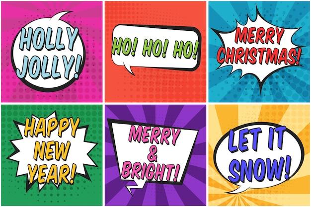 Helle bunte quadratische weihnachts-retro-sprechblasen setzen.
