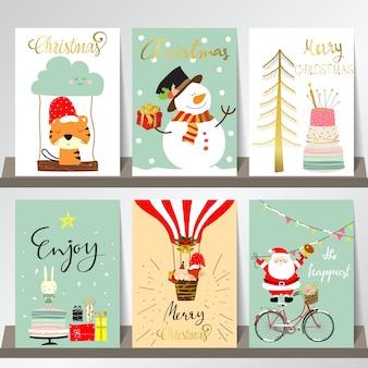 Helle bunte weihnachtsgrußkarte mit baum